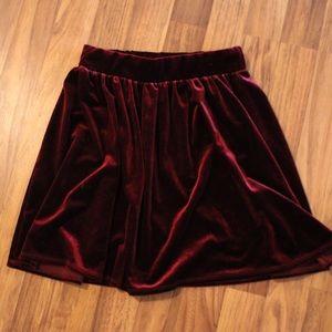 Maroon velvet skirt